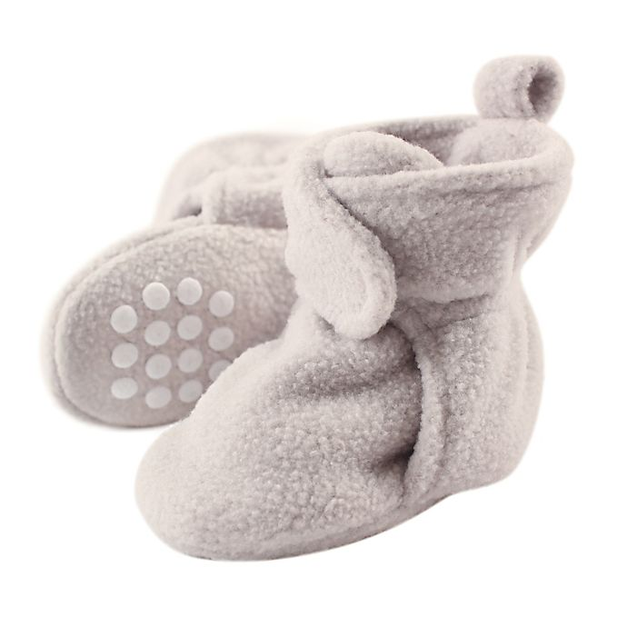 Alternate image 1 for Luvable Friends® Size 0-6M Scooties Fleece Booties in Light Grey