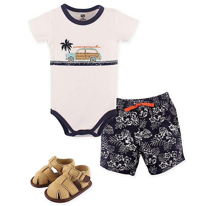 Alternate image 1 for Hudson Baby® Size 6-9M 4-Piece Surf Car Bodysuit, Short, and Shoe Set in Blue