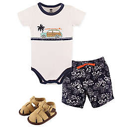 Hudson Baby® Size 3-6M 3-Piece Surf Car Bodysuit, Short, and Shoe Set in Blue