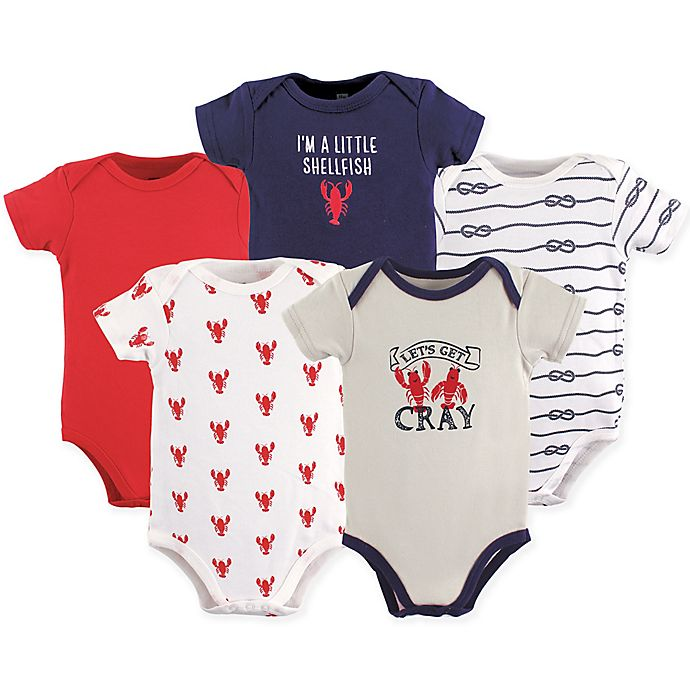 Alternate image 1 for Hudson Baby® 5-Pack Cray Short-Sleeved Bodysuits