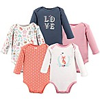 Hudson Baby® Size 3-6M 5-Pack Woodland Fox Long Sleeve Bodysuits