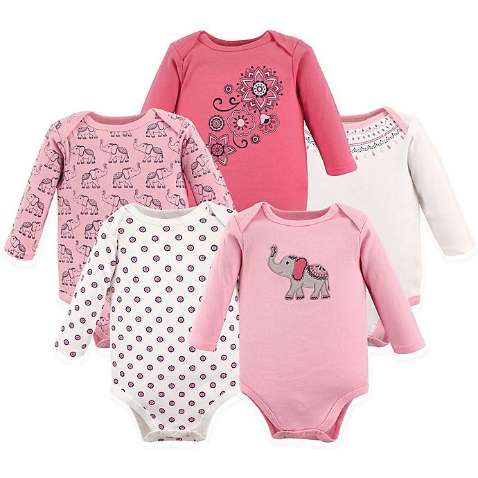Alternate image 1 for Hudson Baby® Size 12-18M 5-Pack Boho Elephant Long Sleeve Bodysuits in Pink