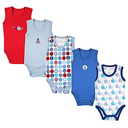 Luvable Friends 5-Pack Nautical Sleeveless Bodysuits in Blue