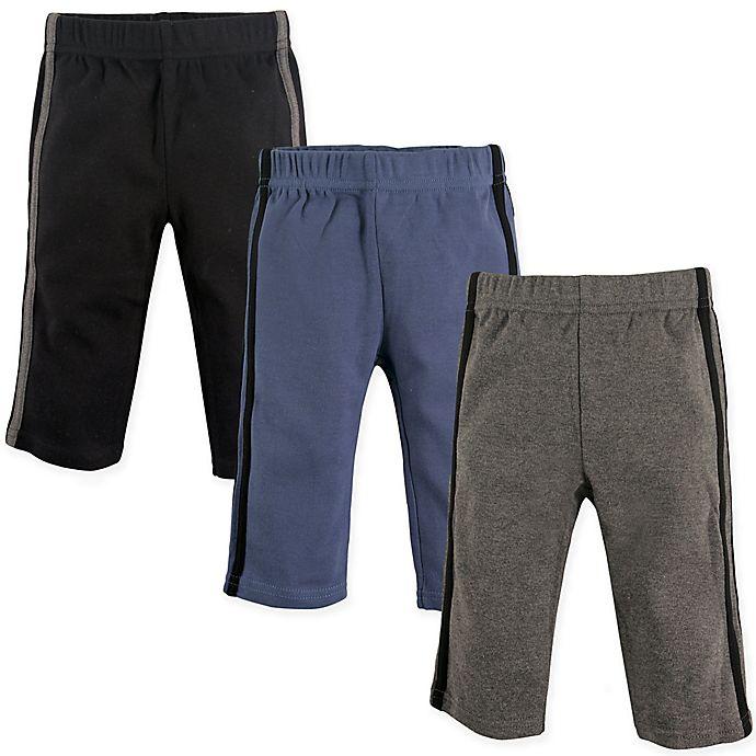 Alternate image 1 for Hudson Baby® 3-Pack Athletic Pants in Black