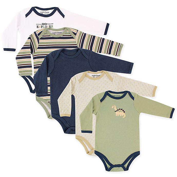Alternate image 1 for Luvable Friends® 5-Pack Dinosaur Long Sleeve Bodysuits