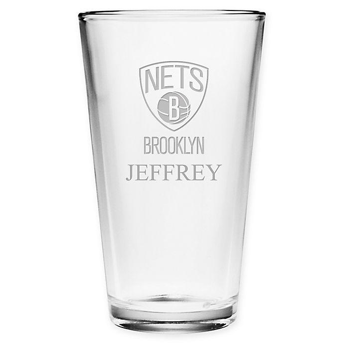 Alternate image 1 for NBA Brooklyn Nets Deep Etch Pint Glass