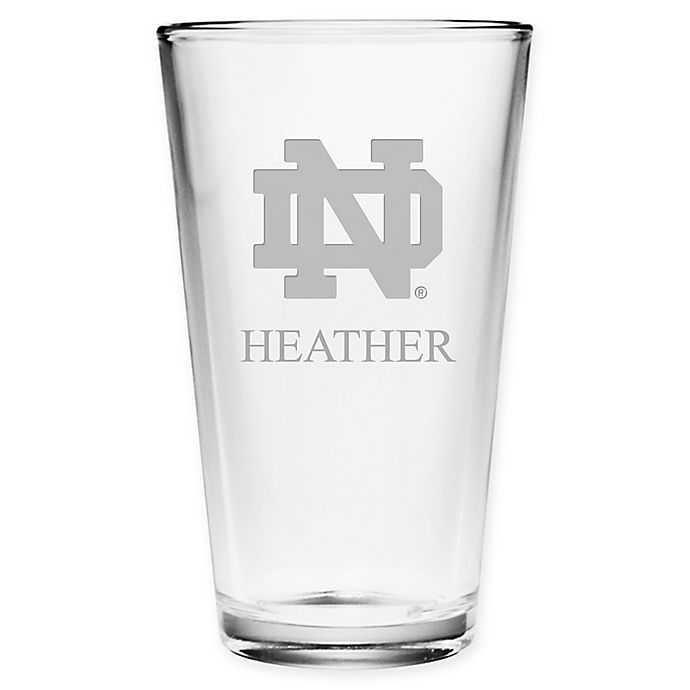 Alternate image 1 for Unviersity of Notre Dame Deep Etch Pint Glass