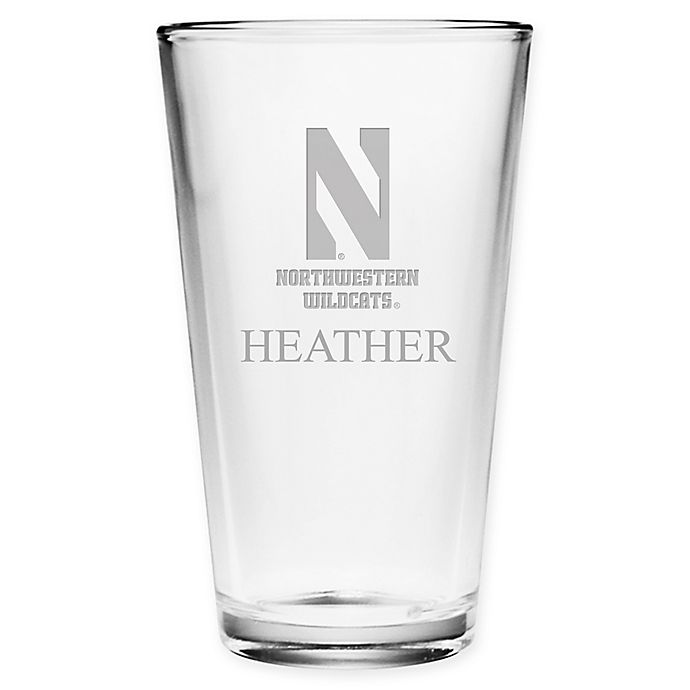 Alternate image 1 for Northwestern University Deep Etch Pint Glass
