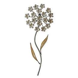 Stylecraft 8-Inch x 20-Inch Metal Flower Wall Art in White