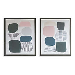 The Urban Habitat Grey Rock Garden Gel Coat Framed Canvas (Set of 2)