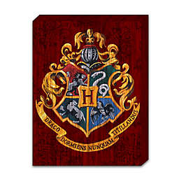 Harry Potter Hogwarts Painted Crest on Banner Box Sign