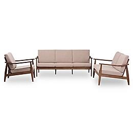Baxton Studio Venza 3-Piece Living Room Set in Light Brown