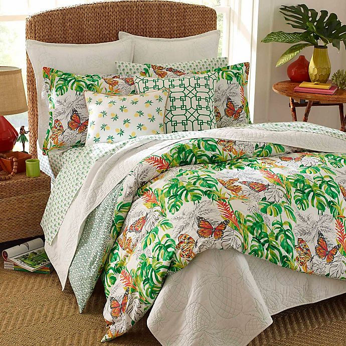 Alternate image 1 for Nine Palms Butterfly Garden Full/Queen Comforter Set in Bright Green