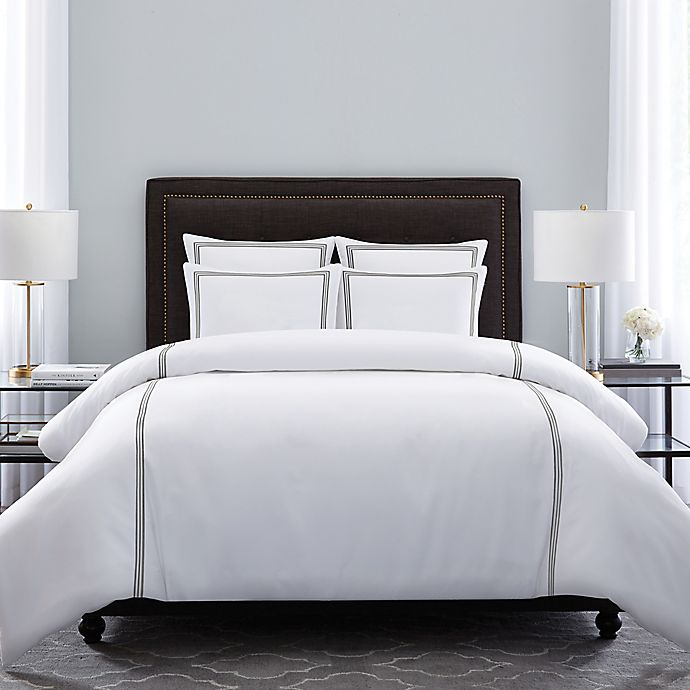 Alternate image 1 for Wamsutta® Hotel Triple Baratta Stitch Duvet Set