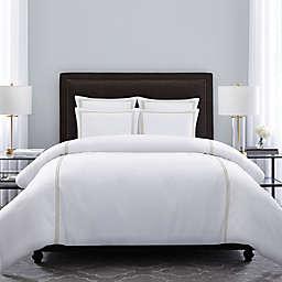 Wamsutta® Hotel Triple Baratta Stitch 3-Piece Full/Queen Duvet Set in White/Taupe
