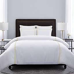 Wamsutta® Hotel Triple Baratta Stitch 3-Piece Full/Queen Duvet Set in White/Yellow