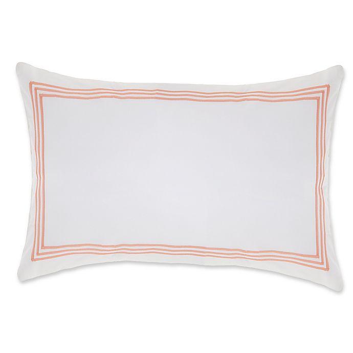Alternate image 1 for Wamsutta® Hotel Triple Baratta Stitch King Pillow Sham in White/Coral
