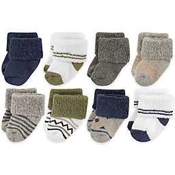 Luvable Friends™ Newborn 8-Pack Aztec-Inspired Socks in Olive Green