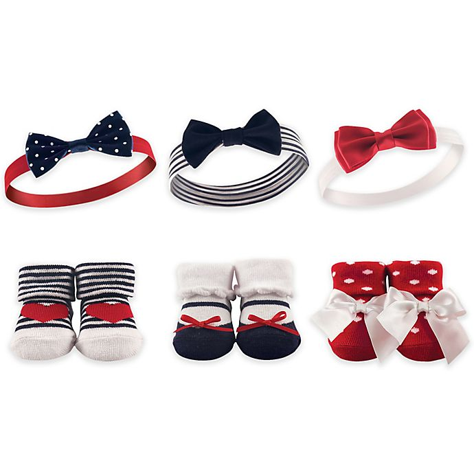 Alternate image 1 for Hudson Baby® 6-Piece Headband and Sock Set