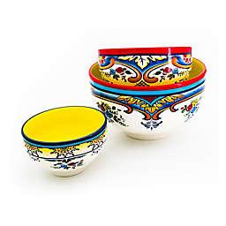 Euro Ceramica Zanzibar Mixing Bowl Set in Blue/White (Set of 3)