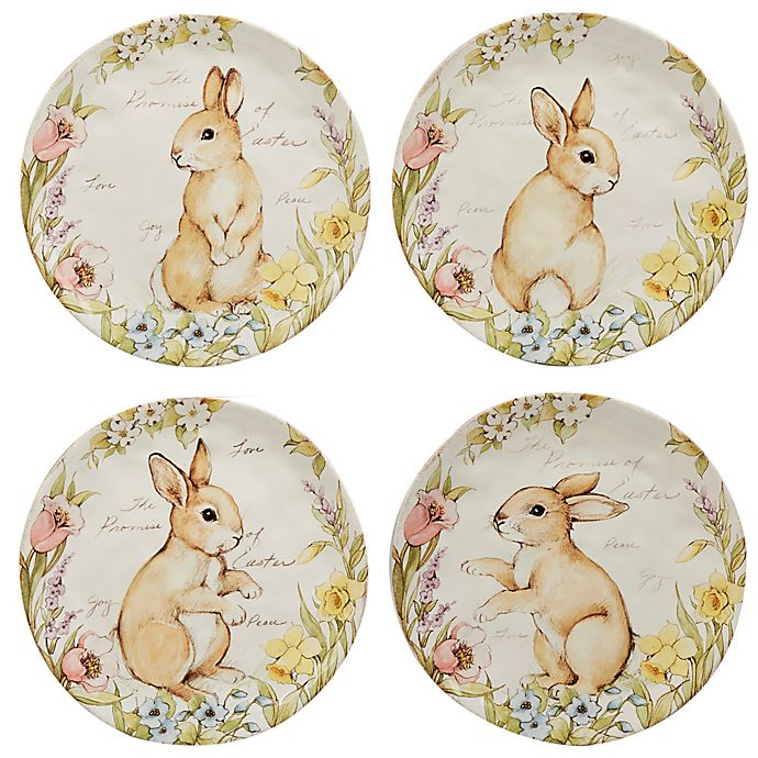 Alternate image 1 for Certified International Bunny Patch by Susan Winget Dessert Plates in Pastel (Set of 4)