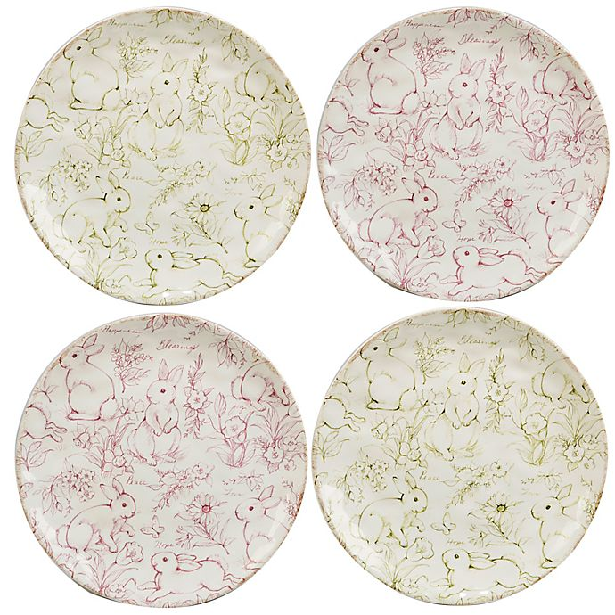 Alternate image 1 for Certified International Bunny Patch by Susan Winget Toile Dessert Plates in Pastel (Set of 4)