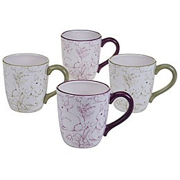 Certified International Bunny Patch by Susan Winget Toile Mugs in Pastel (Set of 4)