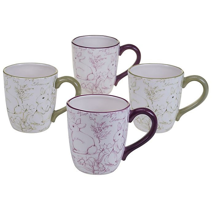 Alternate image 1 for Certified International Bunny Patch by Susan Winget Toile Mugs in Pastel (Set of 4)