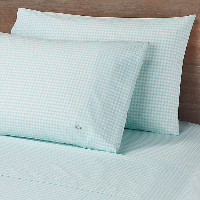 Alternate image 1 for Lacoste Printed Bird Eye Percale 300-Thread-Count Full Sheet Set in Mint