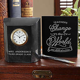 Time To Change The World Teacher Marble Table Clock