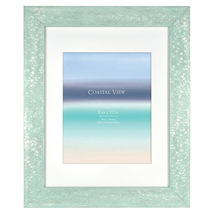 Alternate image 1 for Coastal 8-Inch x 10-Inch Matted Large Plastic Frame in Turquoise Sequin