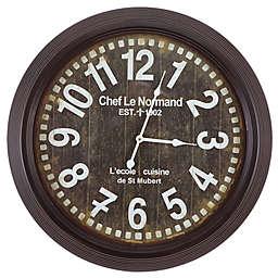 Yosemite Home Décor Chef Le Normand Wall Clock in Dark Brown