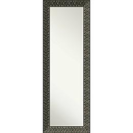 Amanti Art Intaglio Embossed 19-Inch x 53-Inch Framed On the Door Mirror in Black