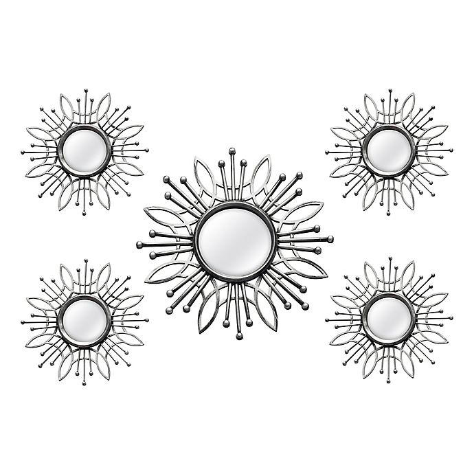 Alternate image 1 for Stratton Home Décor 15.5-Inch Round Burst Mirror in Silver (Set of 5)