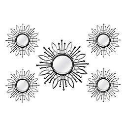 Stratton Home Décor 15.5-Inch Round Burst Mirror in Silver (Set of 5)