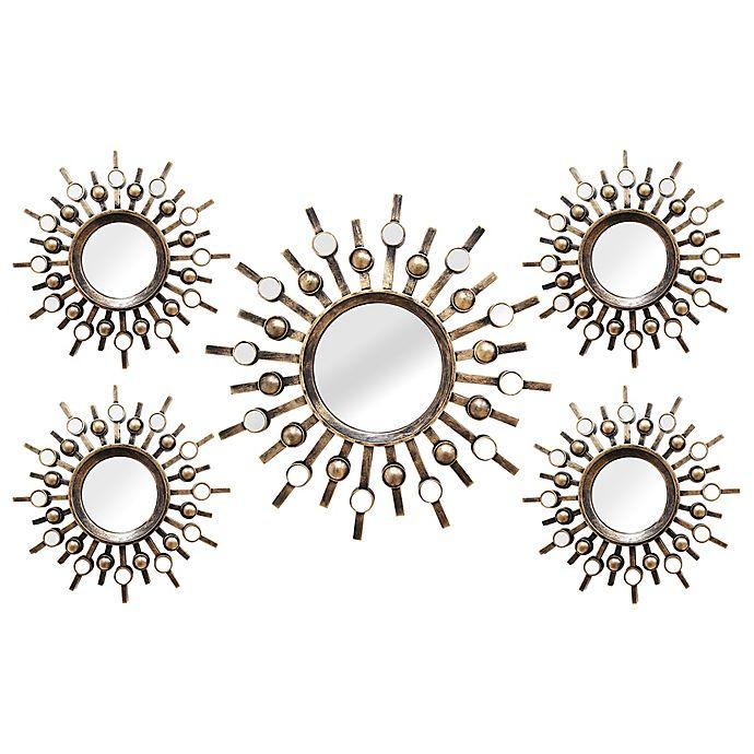 Alternate image 1 for Stratton Home Décor 21-Inch x 39-Inch Round Burst Mirror in Bronze (Set of 5)