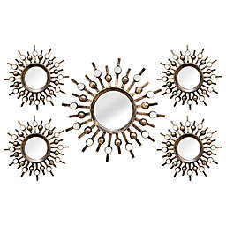 Stratton Home Décor 21-Inch x 39-Inch Round Burst Mirror in Bronze (Set of 5)