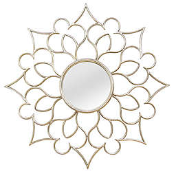 Stratton Home Décor 24-Inch Round Francesca Wall Mirror in Silver