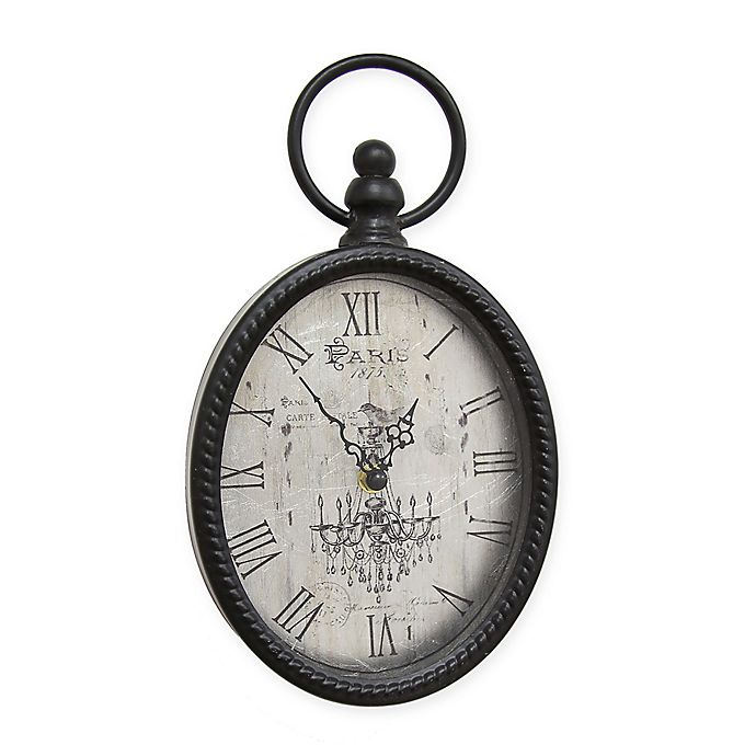 Alternate image 1 for Stratton Home Décor 11.5-Inch Antique Oval Wall Clock in Black