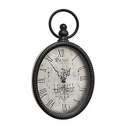 Stratton Home Décor 11.5-Inch Antique Oval Wall Clock in Black