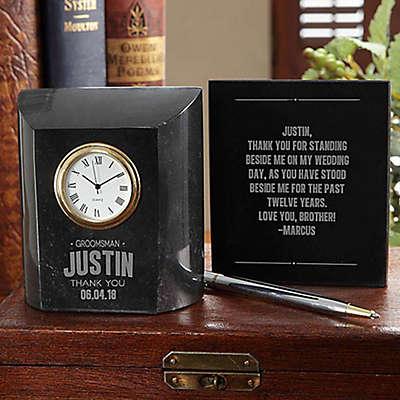 Great Groomsmen Marble Table Clock