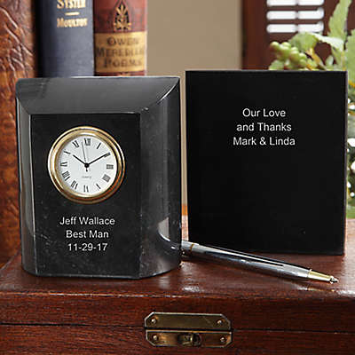 Groomsman Marble Table Clock