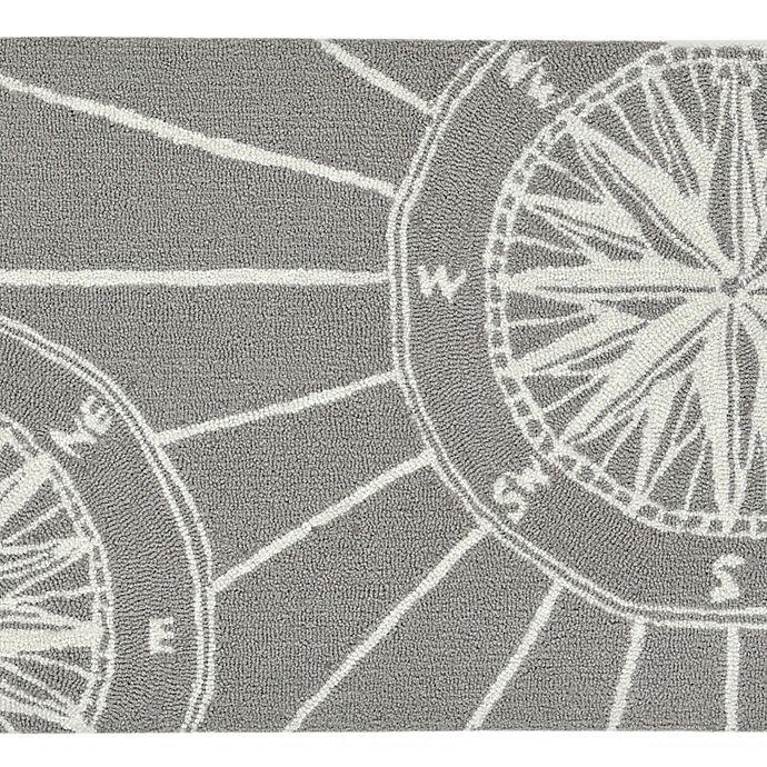 Alternate image 1 for Liora Manne Compass 5' Round Indoor/Outdoor Area Rug in Grey