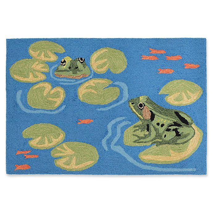 Liora Manne Frogs Handcrafted Indoor/Outdoor Rug In Green
