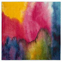 "Safavieh Watercolor 6'7"" x 6'7"" Medley Rug in Green"