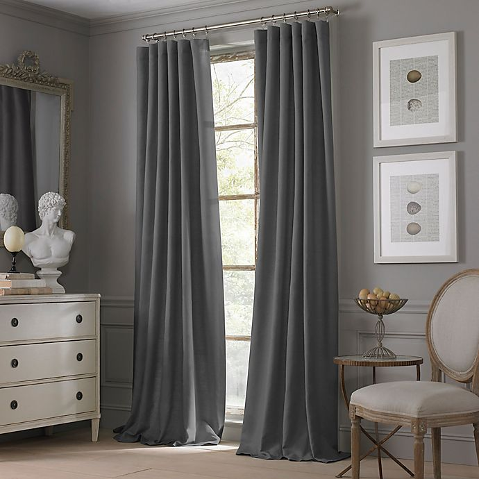 Alternate image 1 for Valeron Estate Cotton Linen 84-Inch Rod Pocket Window Curtain Panel in Charcoal
