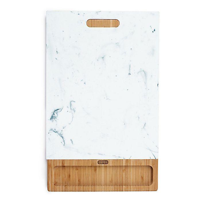 Alternate image 1 for Dexas® Mixx™ 11-Inch x 17-Inch Polymarble™ & Bamboo 2-Piece Cutting Board Set