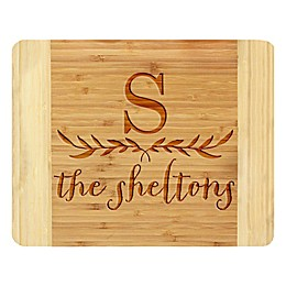 Stamp Out Big Initial and Leaves 11-Inch x 14-Inch Bamboo Cutting Board