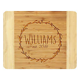 Stamp Out Circle Branch Wreath 11-Inch x 14-Inch Bamboo Cutting Board