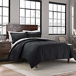 Garment Washed Solid King Comforter Set in Onyx